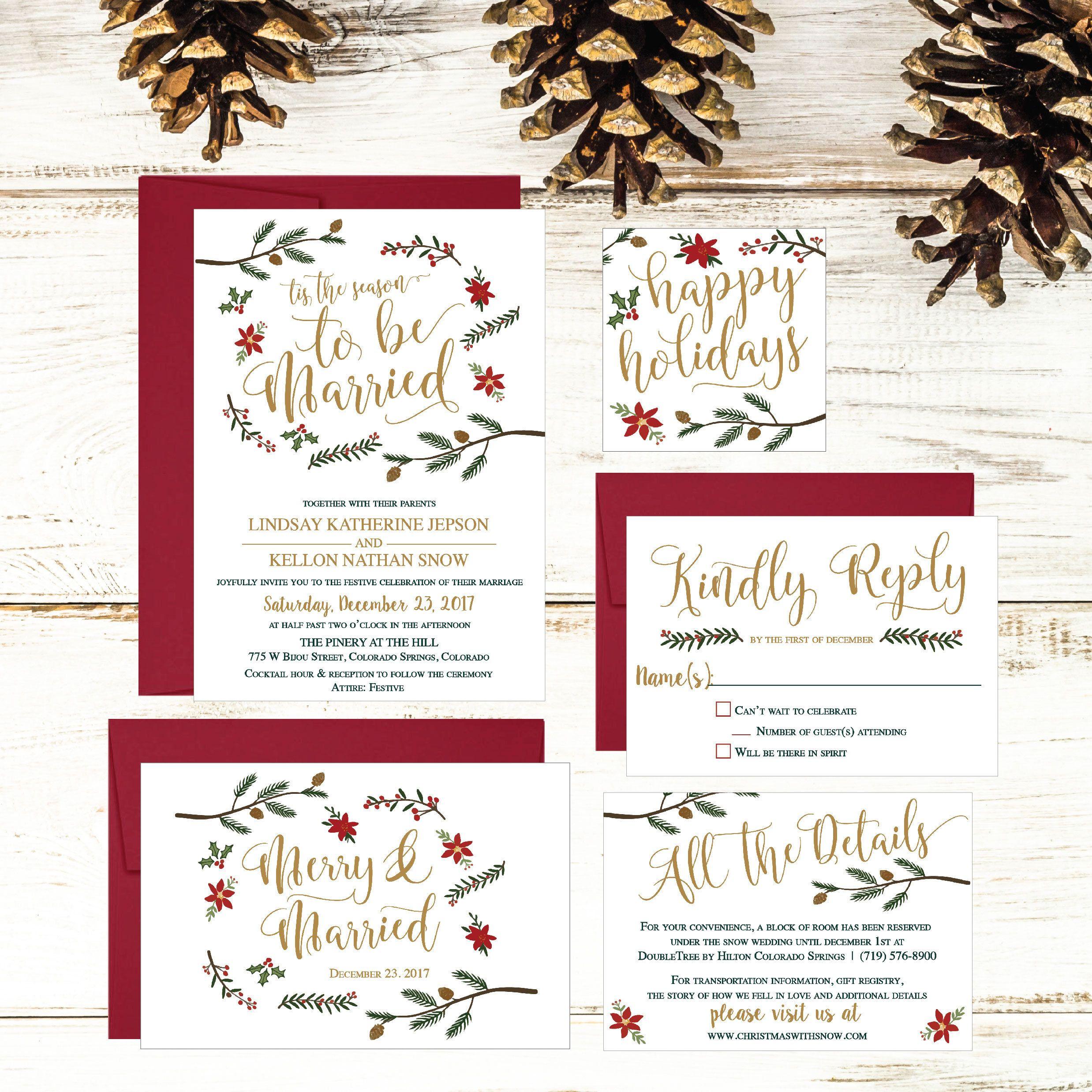 Holiday Wedding Invitation Template Winter Rustic