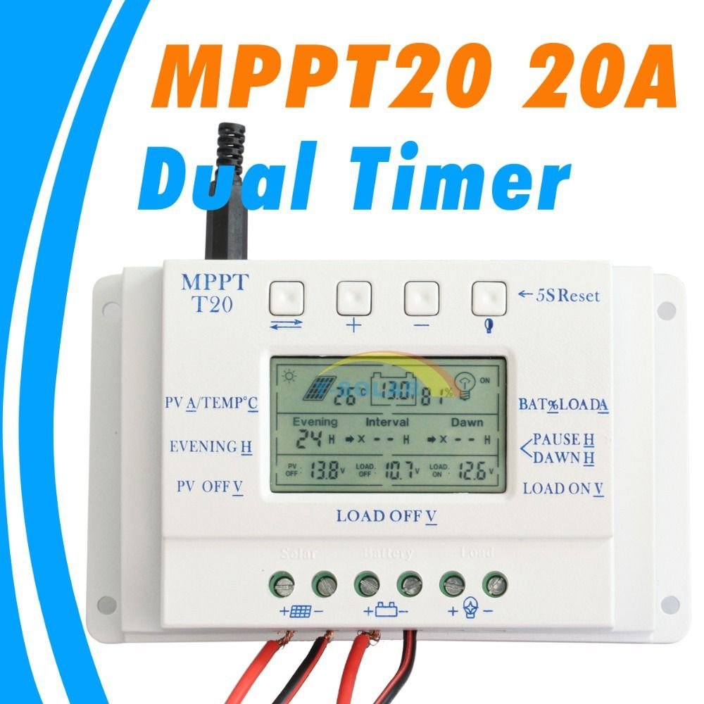 Mppt 20a Solar Panel Controller 12v 24v Solar Controller Dual Timer Function For Pv Lighting System Led T 20 Solar Reg Solar Lighting System Solar Panels Timer