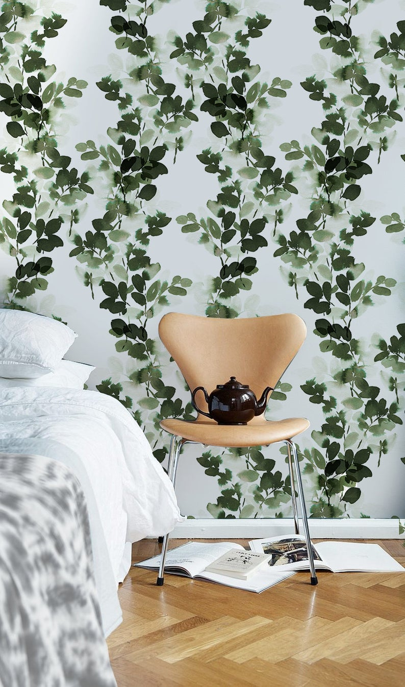Green branches removable wallpaper green and white 81