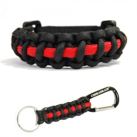 The Thin Red Line Firefighter Paracord Bracelet And Keychain