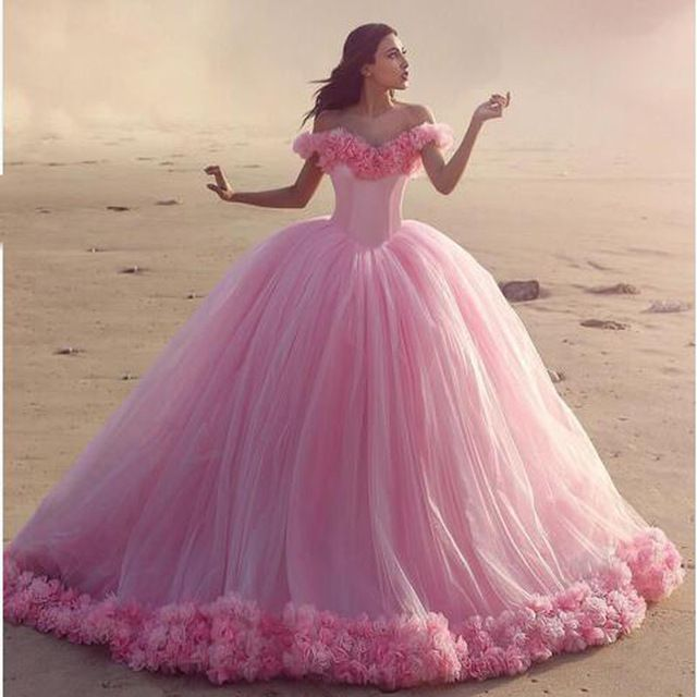 Romantic Ball Gown Pink Wedding Dress 2017 Bridal Gown Heavy Flower Tulle Princess Bride Dress  Court Train Custom Made