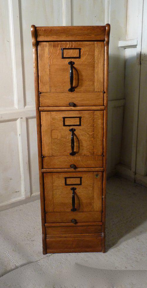 Antique Large Art Deco 3 Drawer Oak Filing Cabinet Filing Cabinet Wooden File Cabinet Art Deco Furniture Wooden file cabinet 3 drawer