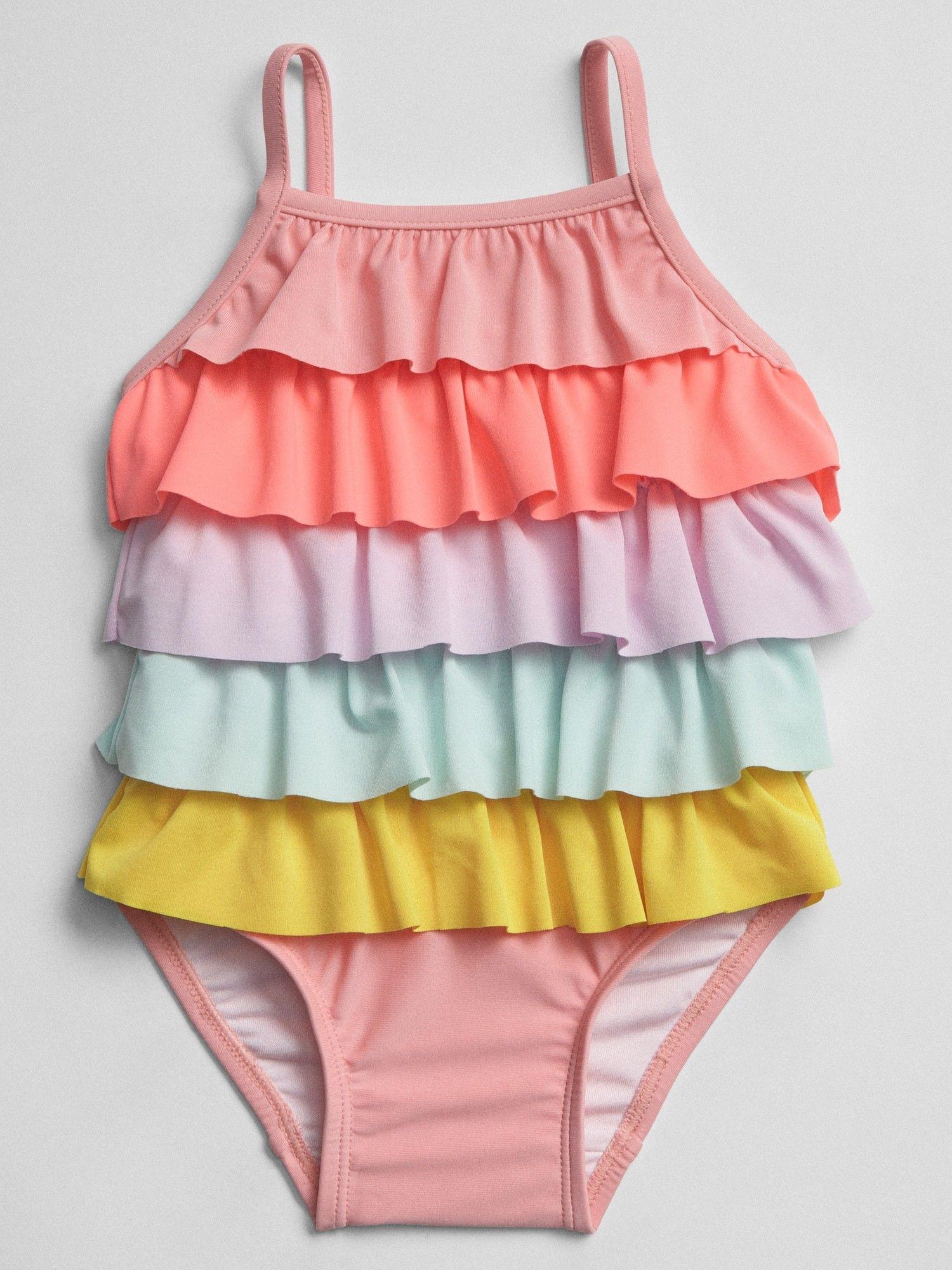 Freebily Toddler Baby Girls One Piece Striped Swimsuit Cutie Bowknot Ruffle Swimwear Swimming Costumes