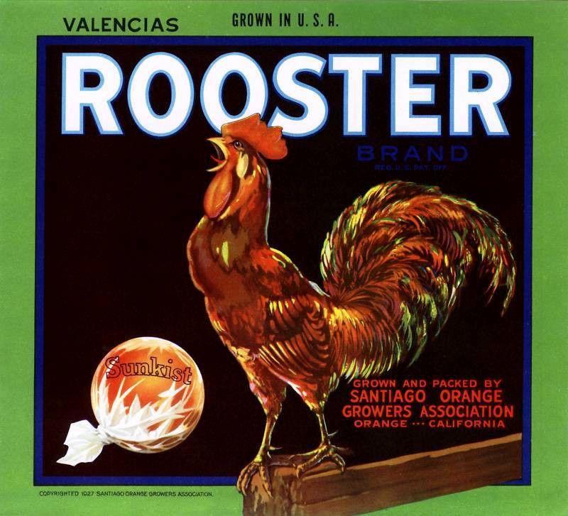 ROOSTER~VERY RARE ORIGINAL 1930s SANTIAGO CALIFORNIA