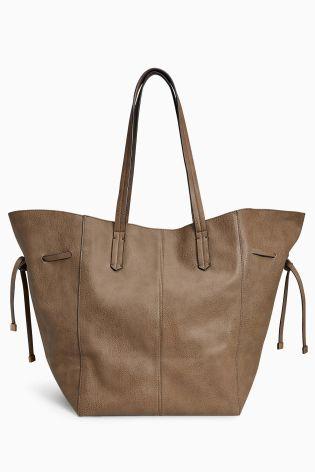 Buy Khaki Tie Side Shopper Bag from Next Croatia