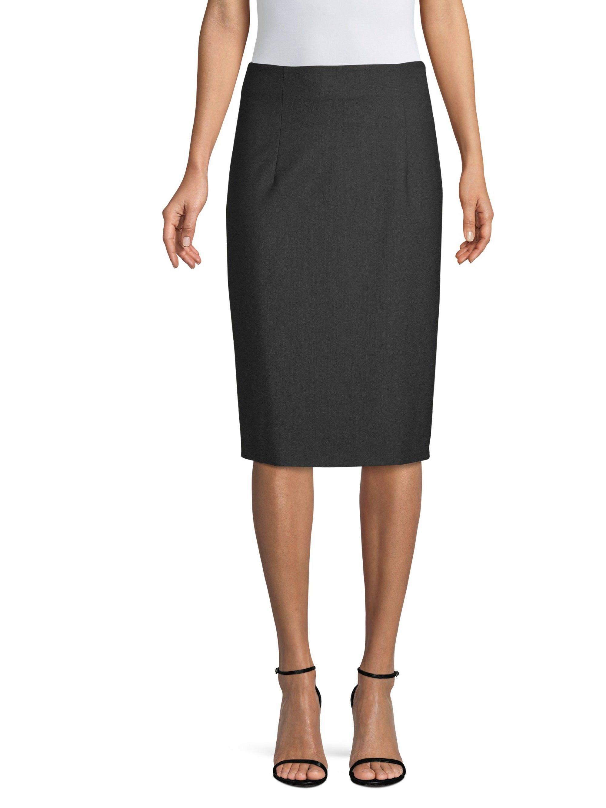 a83a62e3f99e60 Piazza Sempione Stretch Wool Pencil Skirt - Black 50 (14) Stretch Wool  Pencil Skirt