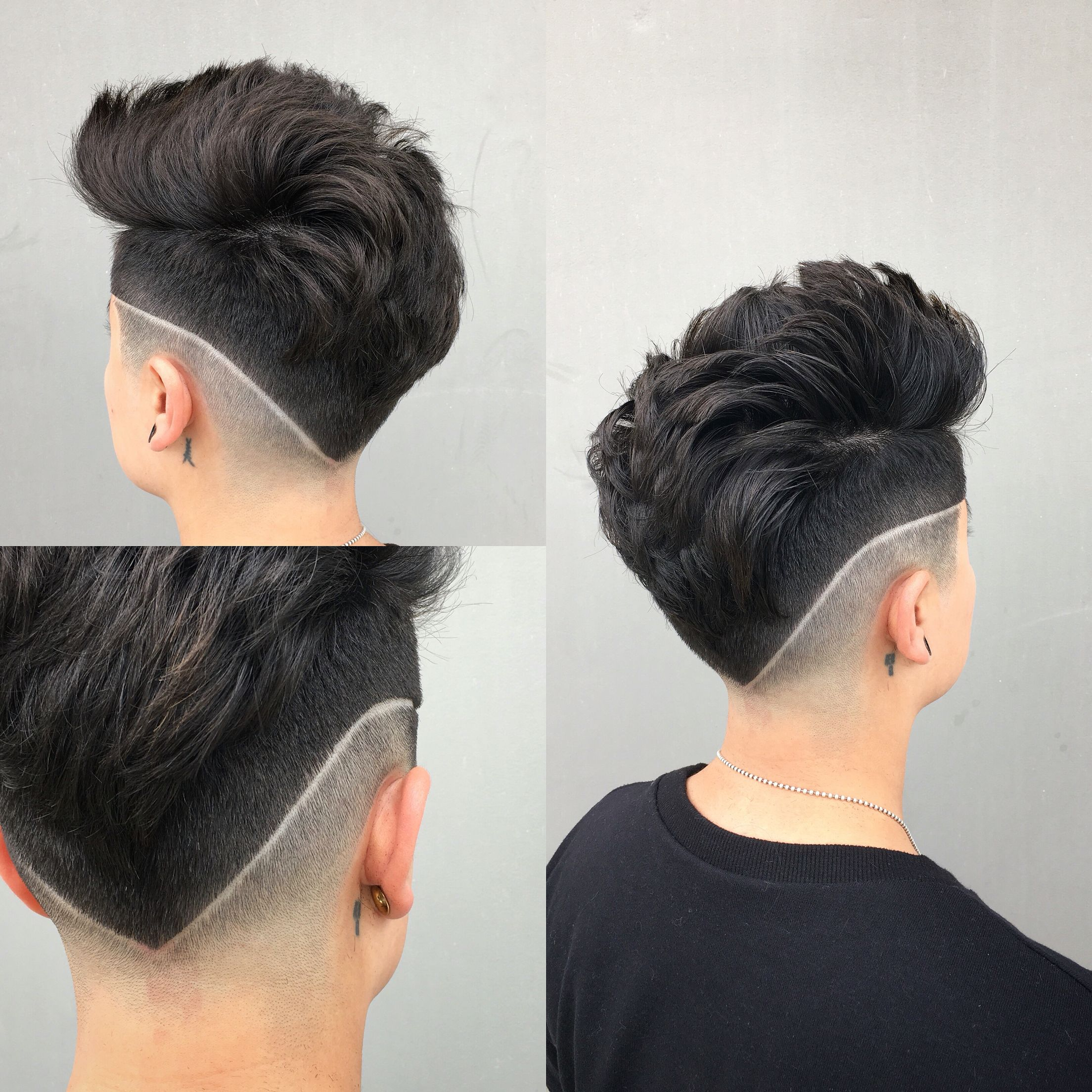 Messy pompadour with a design @razothebarber | Haircuts ...