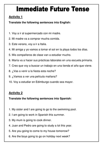 Spanish - Immediate Future Tense Worksheet | Futuro próximo ...