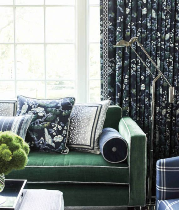 BLUE CHINOISERIE Curtains Navy Oriental Asian CUSTOM Curtain Panels Pleated Blue Green White Drapes