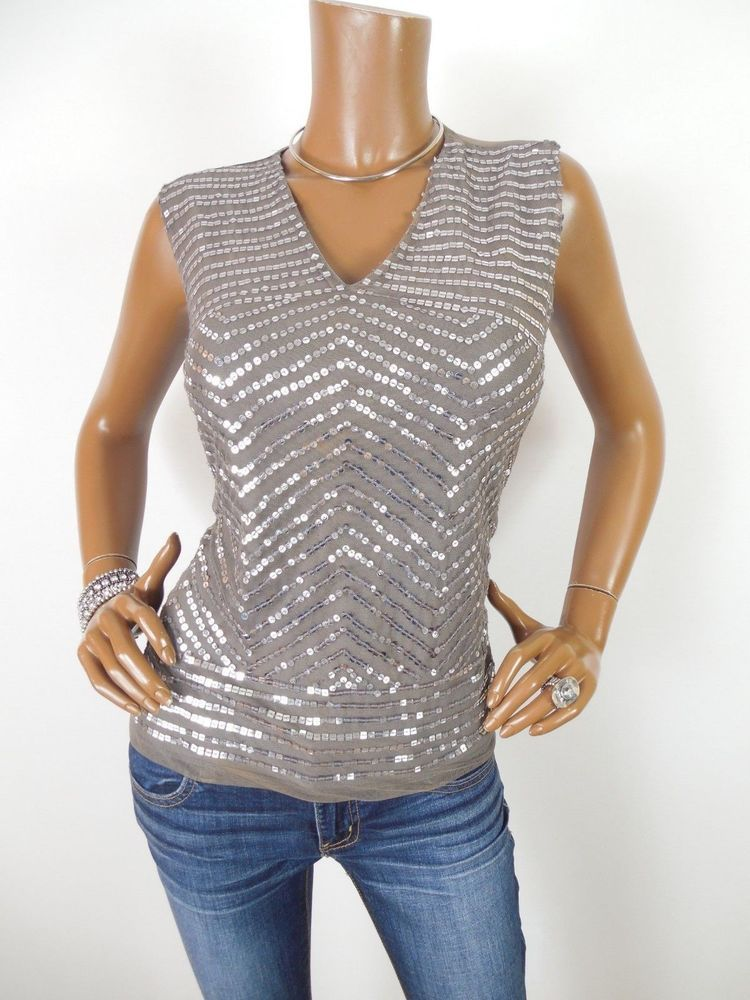 e28248ac2b1 WORTHINGTON Womens Top M NWT Sequin Shirt Pewter/Silver Sleeveless Dressy  Mesh #WorthingtonIndustries #Blouse #Casual