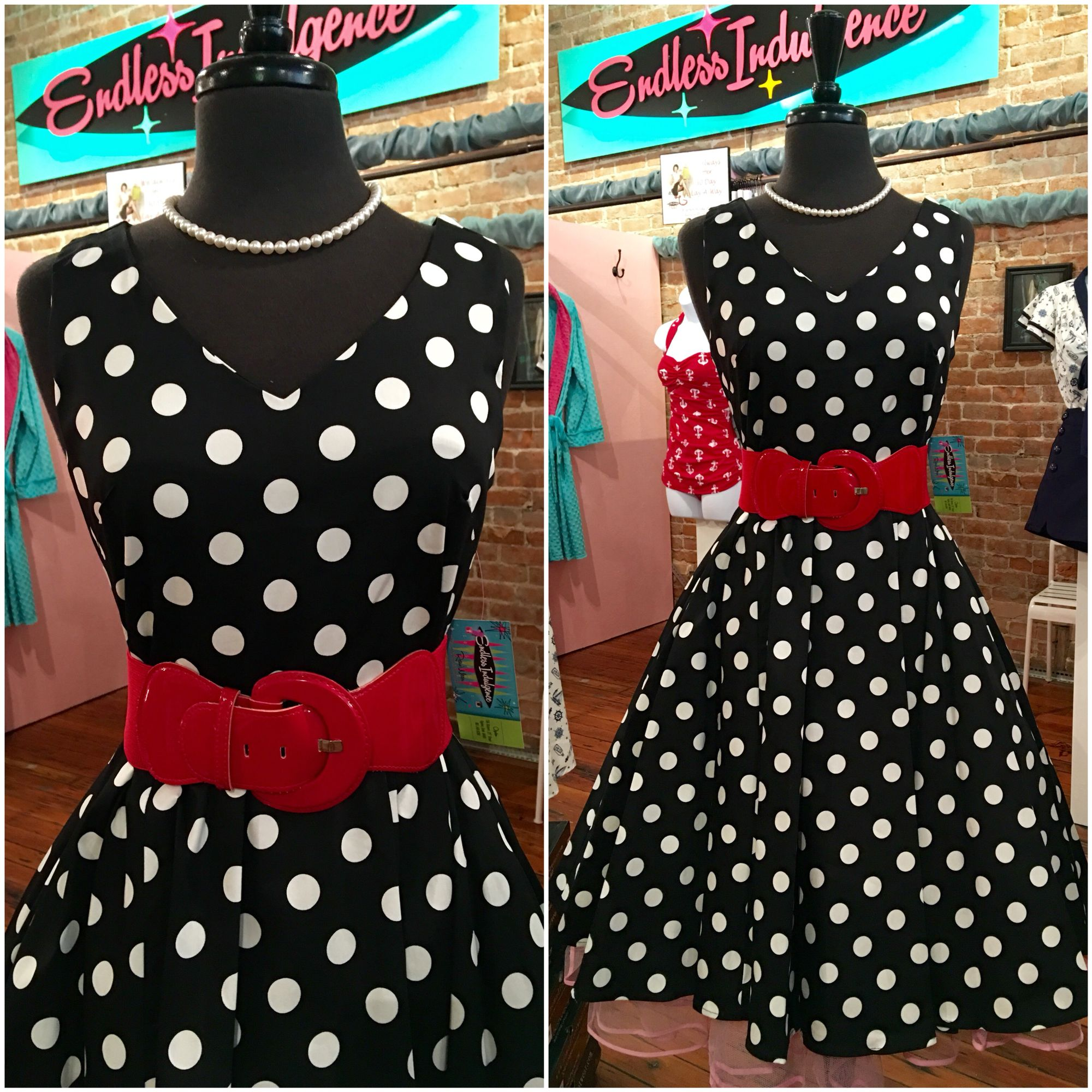 A classic black u white polka dots w red belt extra oh and this