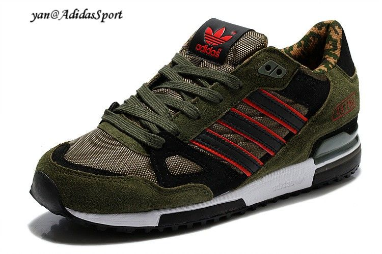 Adidas Originals ZX 750 Mens running shoes Camouflage-Army Green/Black/Red  HOT