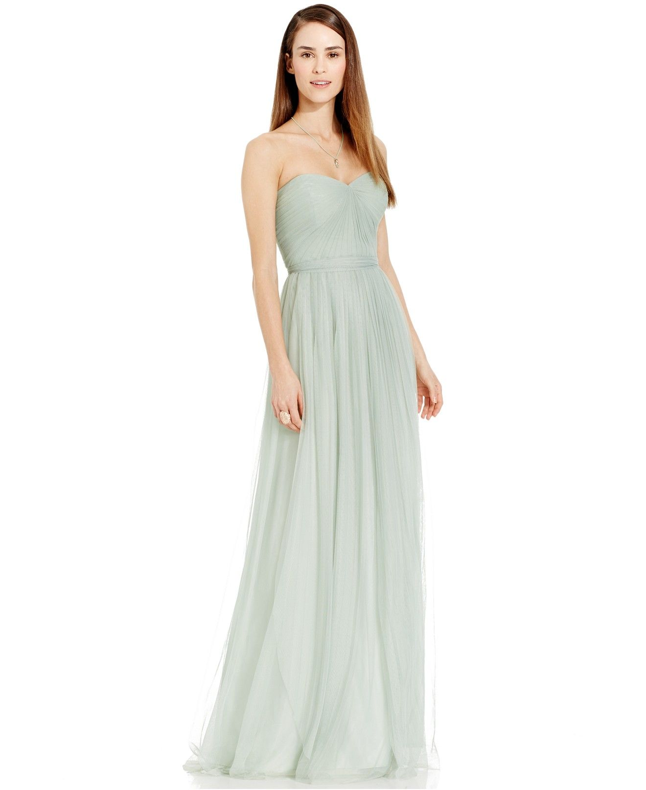 Papell cap sleeve beaded sequined gown dresses women macy s - Adrianna Papell Pleated Strapless Tulle Gown Would Love It In Lavender
