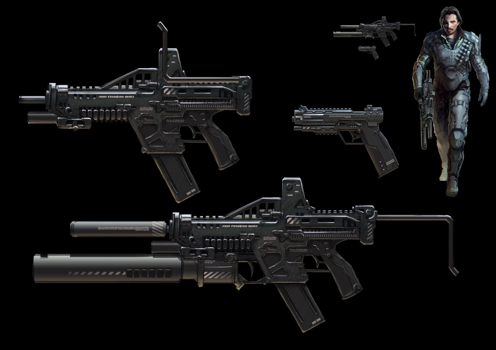 weapons sketch, Yi Yang on ArtStation at https://www.artstation.com/artwork/weapons-sketch