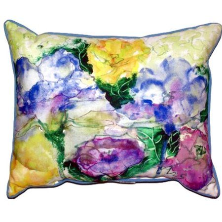 Betsy Drake Interiors Watercolor Garden Outdoor Lumbar Pillow  #interiorgarden