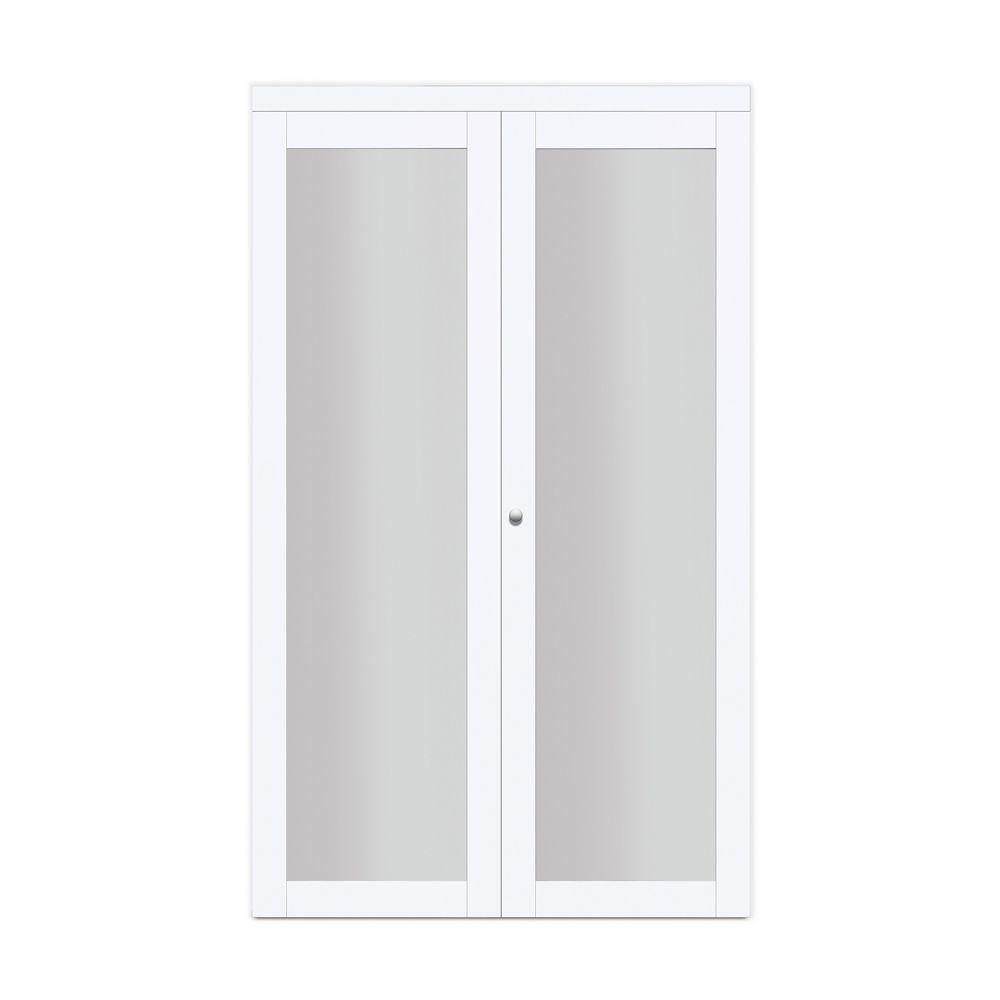 24 Modern European Off White Bi Fold Closet Door 1 Frosted Glass Lite In 2020 Sliding Closet Doors Closet Doors Locker Storage