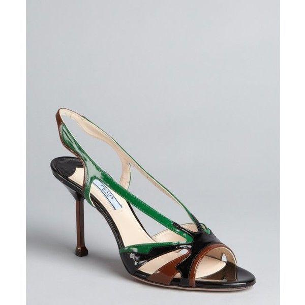 Prada Black and emerald colorblock patent leather slingback sandals