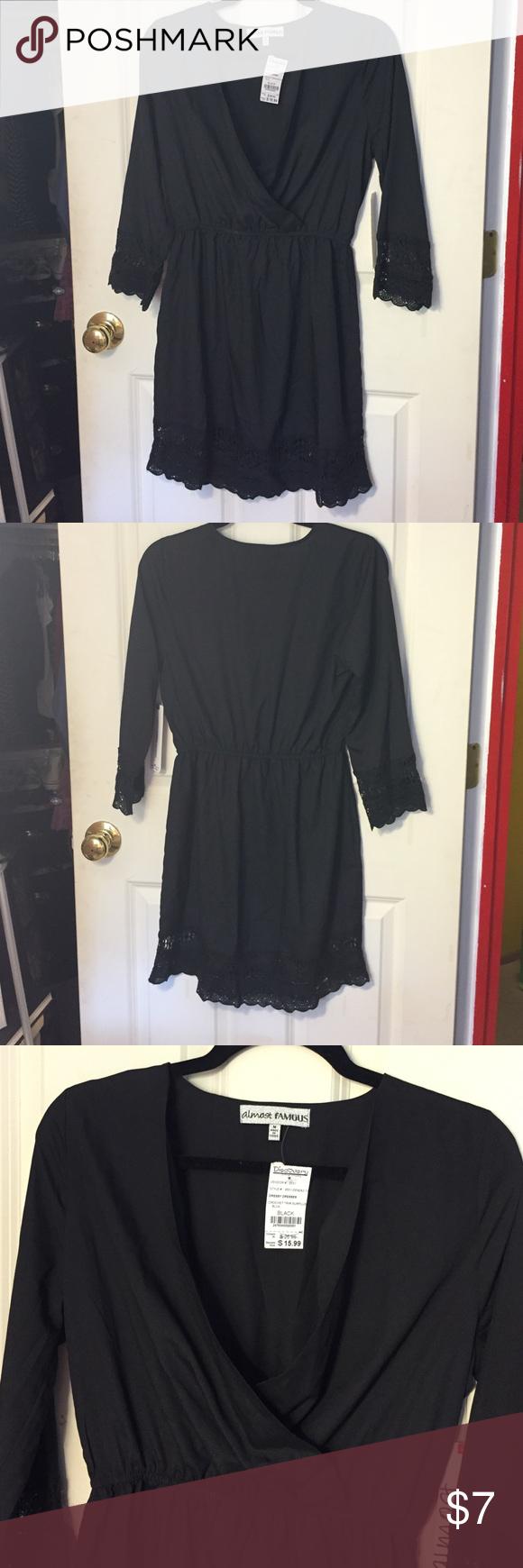 Black crochet hem dress black wrap dress with crochet lace sleeves
