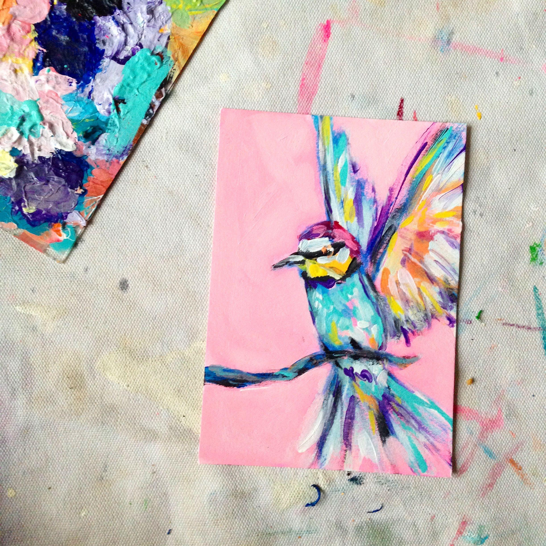 acrylic illustration ORIGINAL painting original acrylic on paper Birds
