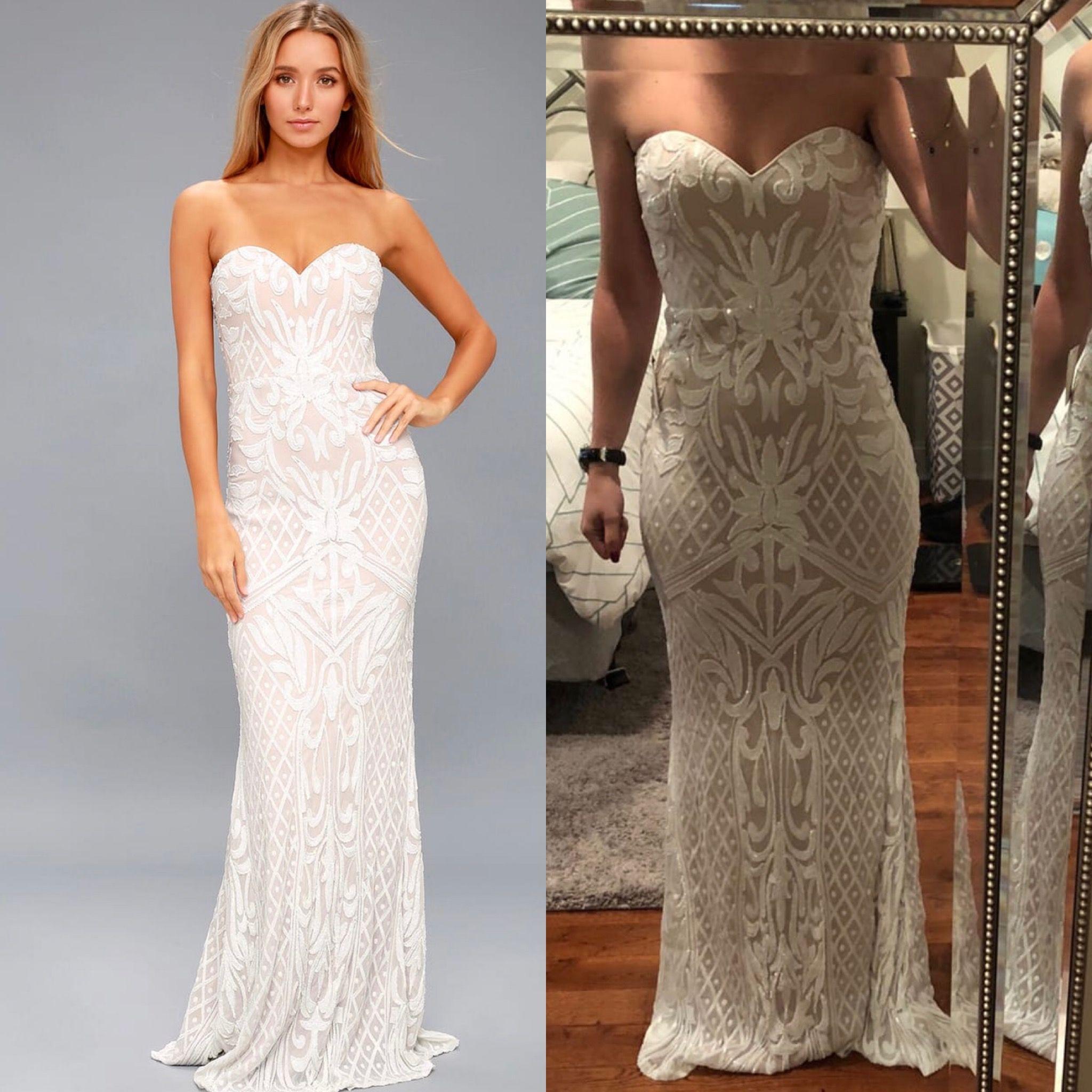 514ae52ca1e RECEPTION  Olivia White Sequin Strapless Maxi Dress