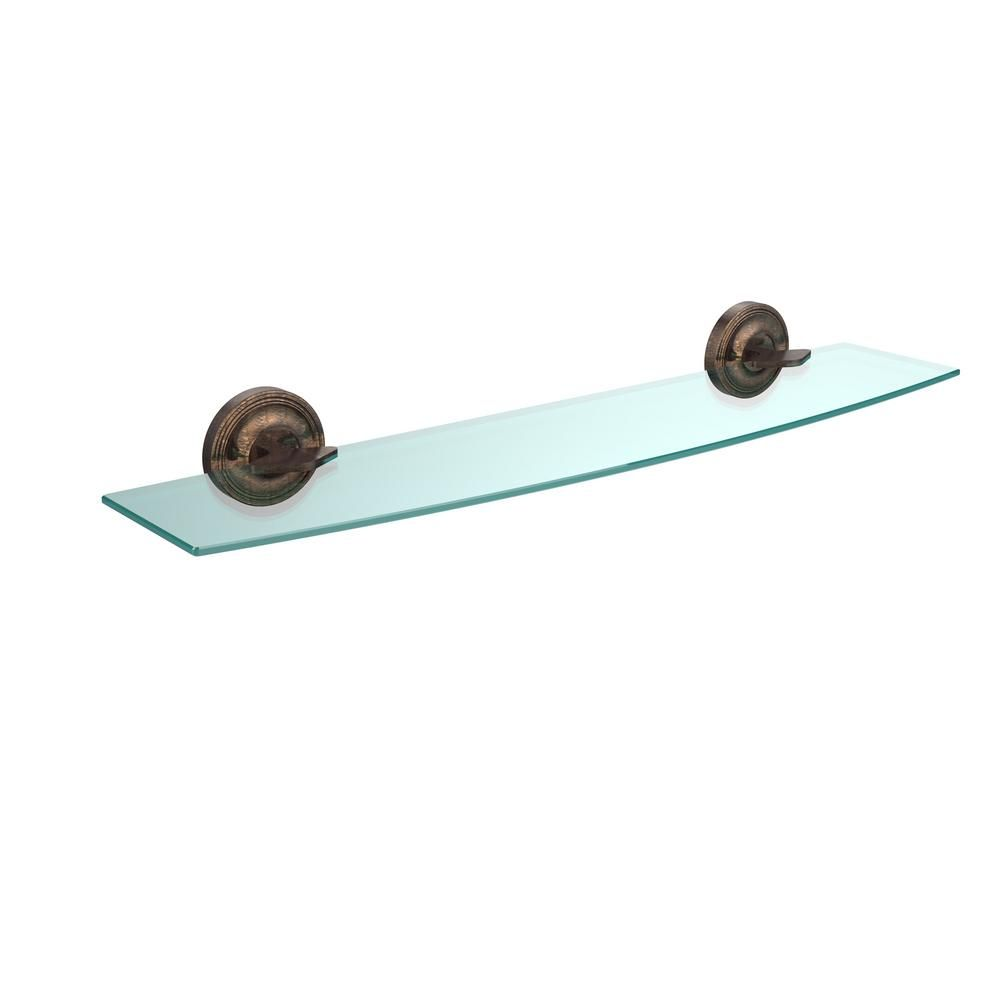 Allied Brass Regal 24 in. L x 3-1/8 in. H x 5 in. W Clear Glass Bathroom Shelf in Venetian Bronze
