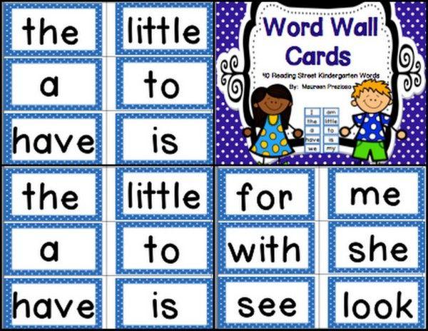 Word Wall Cards for Kindergarten Reading Street | Kindergarten ...