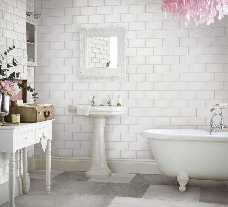 I Used The Topps Tiles Visualiser White Bathroom Tiles Bathroom Inspiration White Tiles Grey Grout
