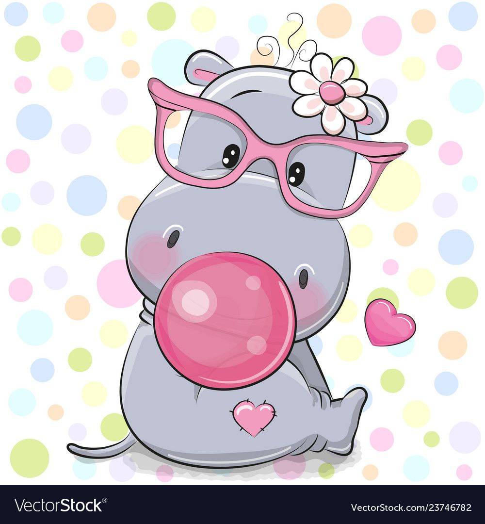 Cute Cartoon Hippo In A Pink Glasses With Bubble Gum Download A Free Preview Or High Quality Adobe Illustrato Cartoon Hippo Cute Cartoon Animals Cute Drawings