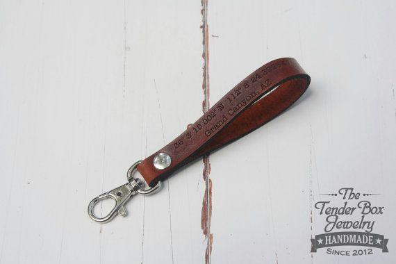 Keychain leather longitude latitude engraved Key by TheTenderBox
