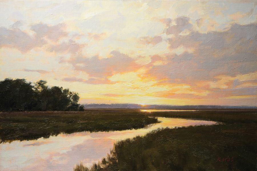 South Carolina Artist Quot Creek Sunset Quot By Michael B Karas