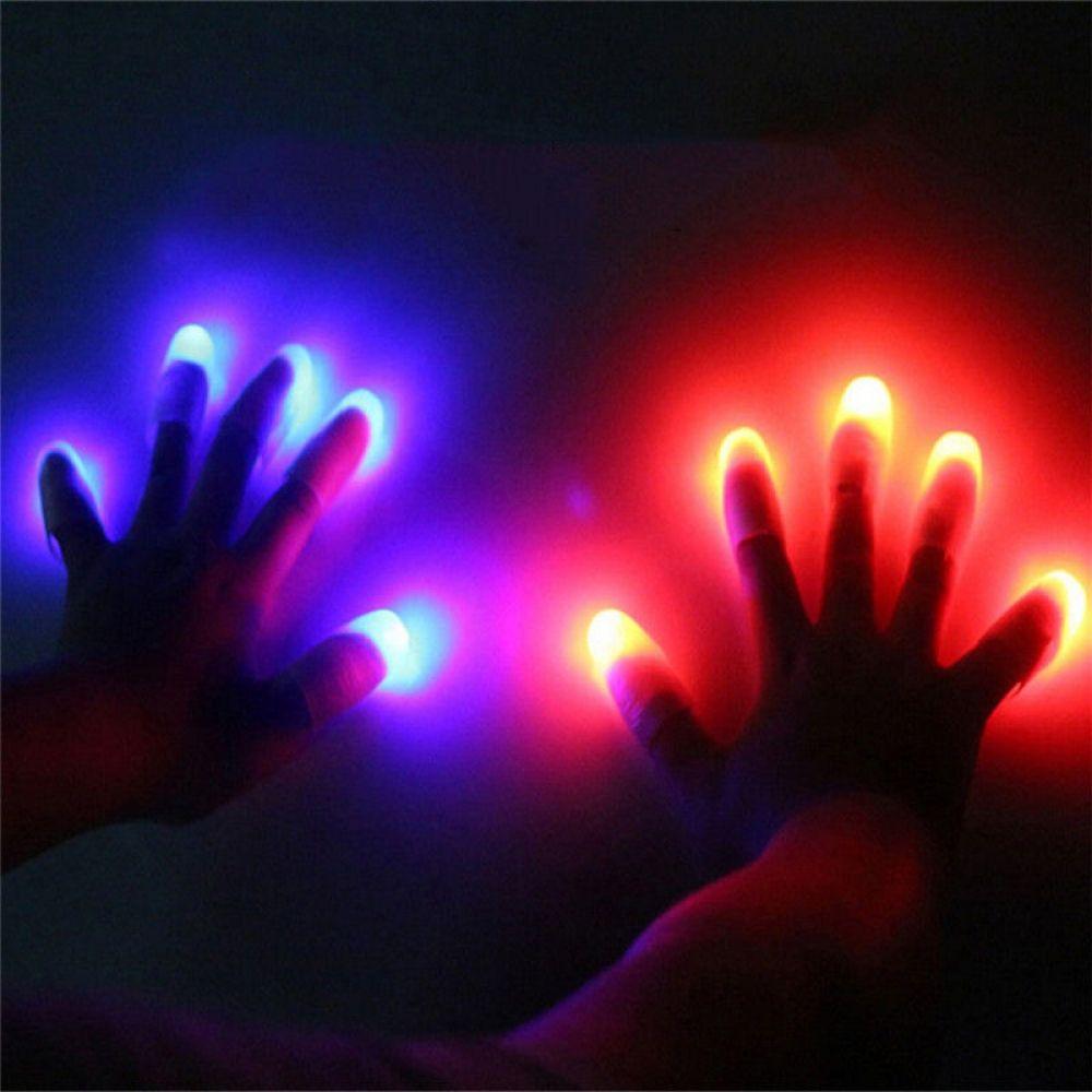 Popular Luminous Magic Super Bright Light Up Thumbs Fingers 2Pcs Trick Children