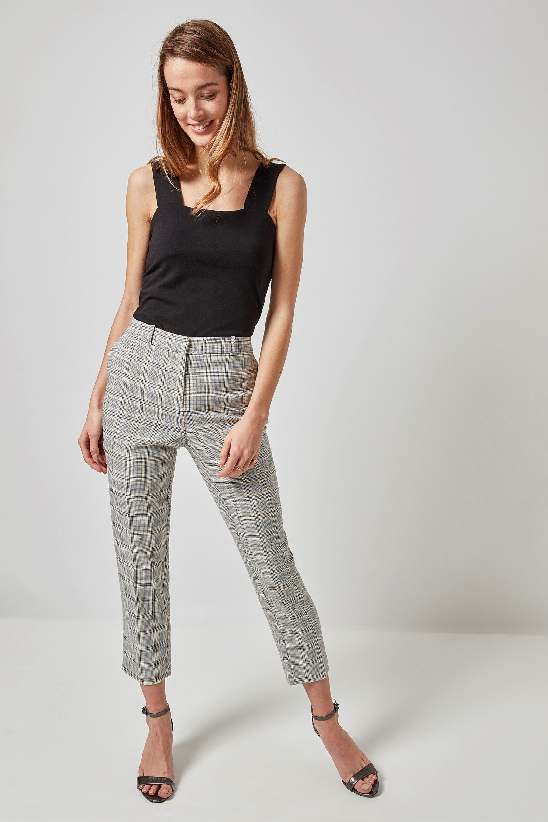 35dcb9678a Womens Dorothy Perkins Summer Check Ankle Grazer Trouser - Grey in ...