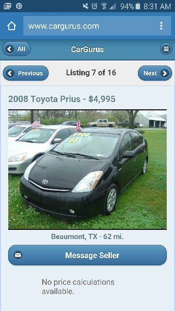 Used Car Guru >> 2008 Toyota Prius 4 995 Car Gurus Com Used Cars Atv S Land
