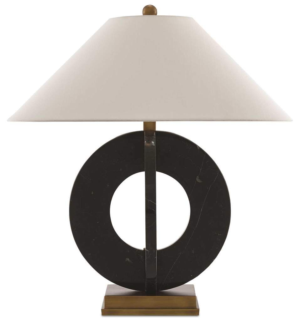 The Feival Table Lamp From Currey And Company Showcases A Striking Design With Interlocking Rings Made Of Black Marble Comp Lamp Table Lamp Lighting Table Lamp