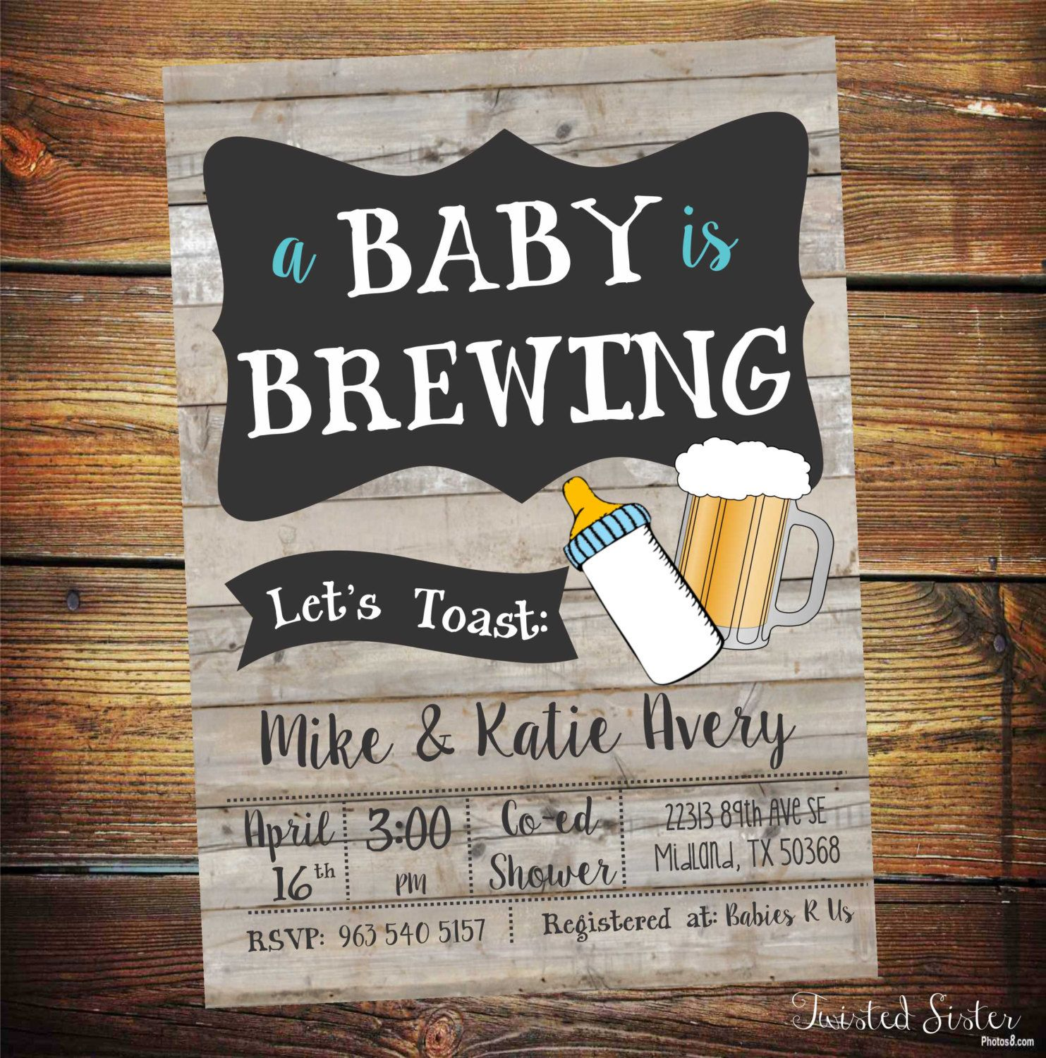 A Baby is Brewing Invitation, Beer Baby Shower Invitation, Beer Baby Shower,  co ed baby shower invitation, co ed baby shower invite, ...