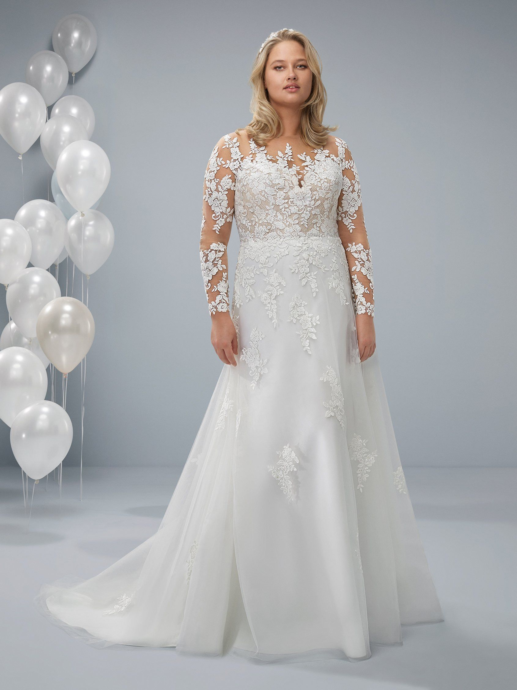 Odre Plus Wedding Dress With Long Sleeves And Illusion Neckline Plus Wedding Dresses Wedding Dress Big Bust Wedding Dresses