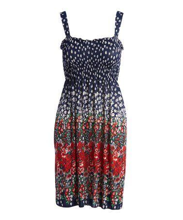 Navy & Red Floral Sleeveless Dress #zulily #zulilyfinds