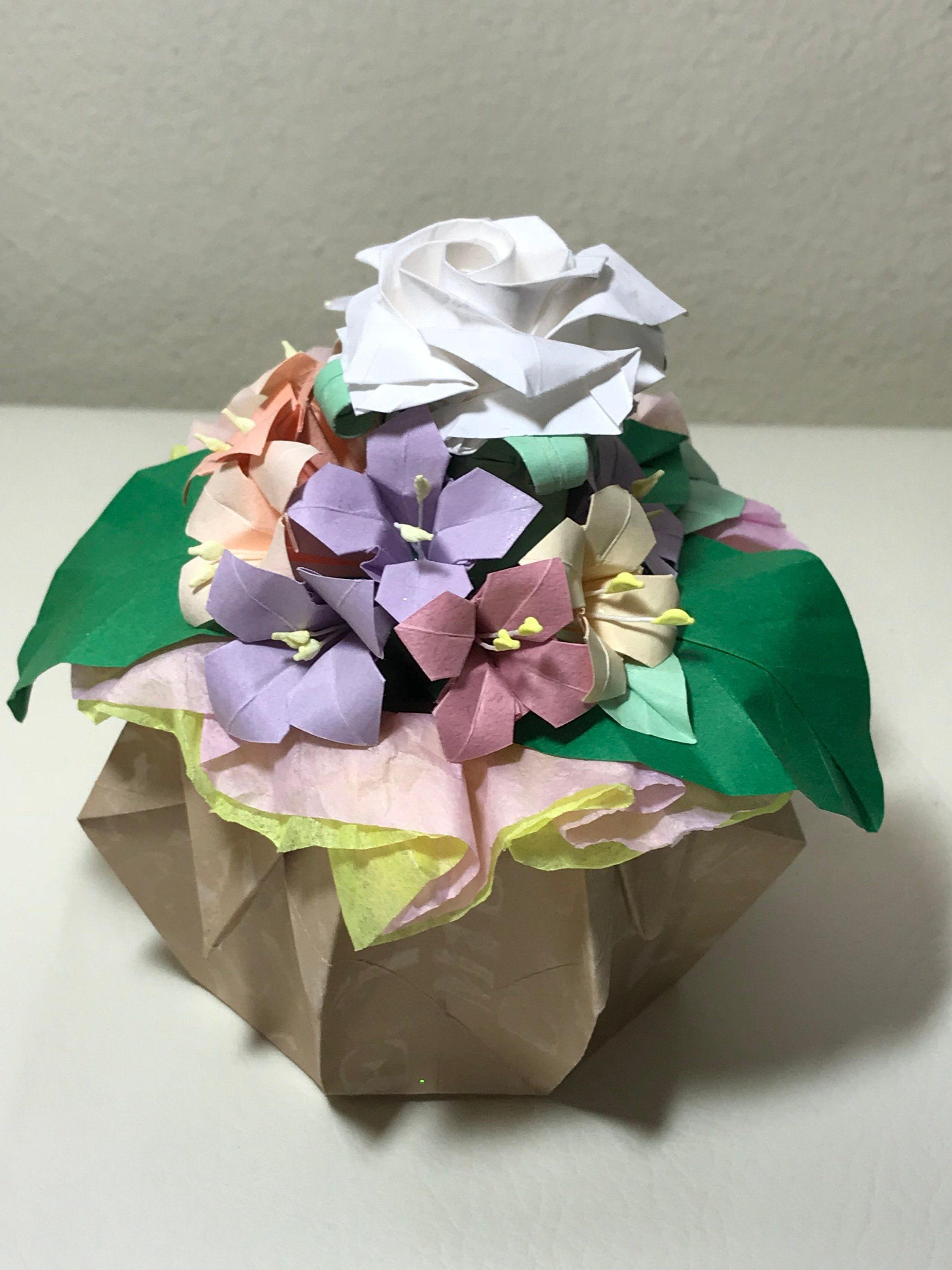 Japanese Origami Flowers Bouquet White Rose Origami Flower