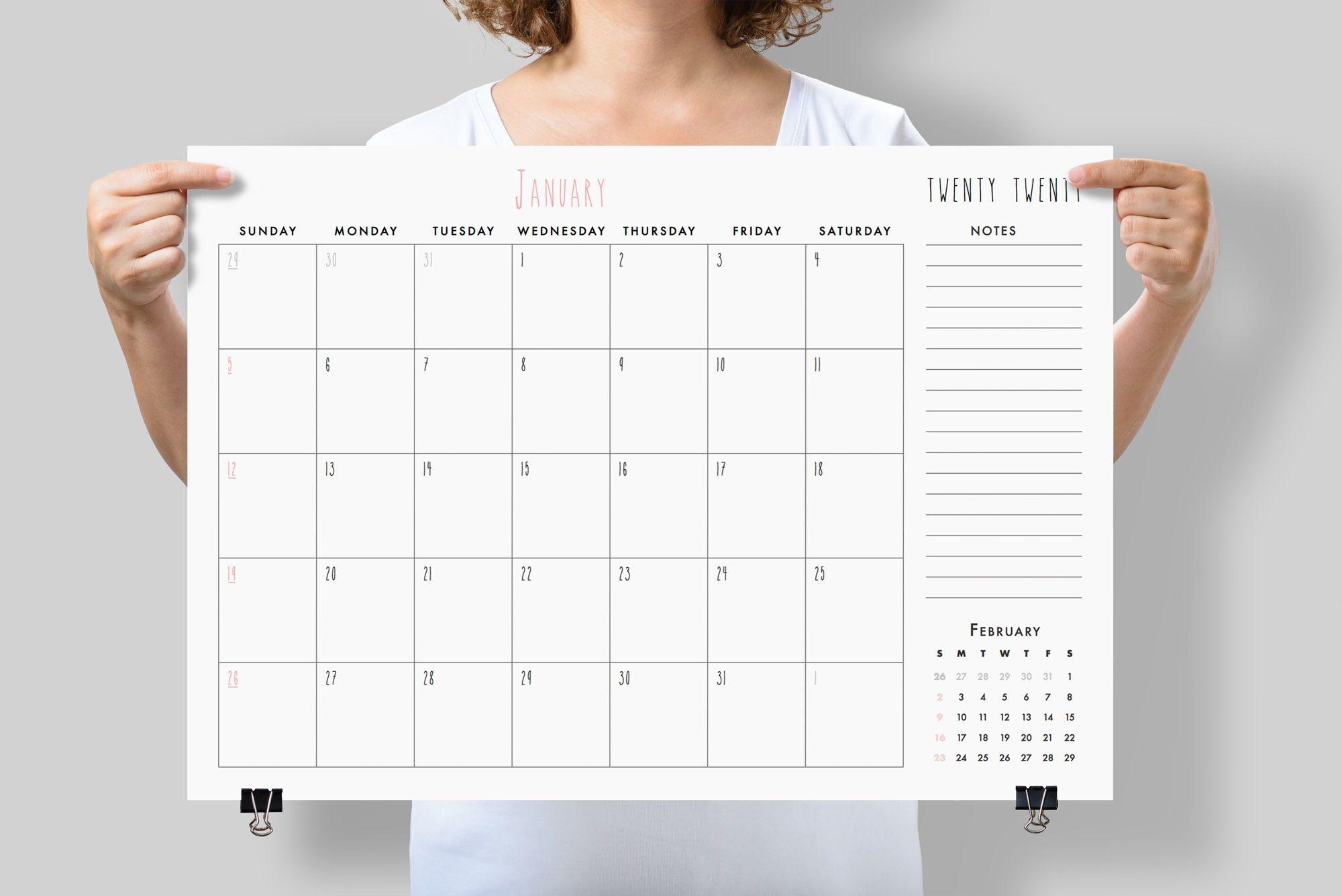 Wall Calendar 2020 Large Printable Desk Calendar 2020 Minimalist