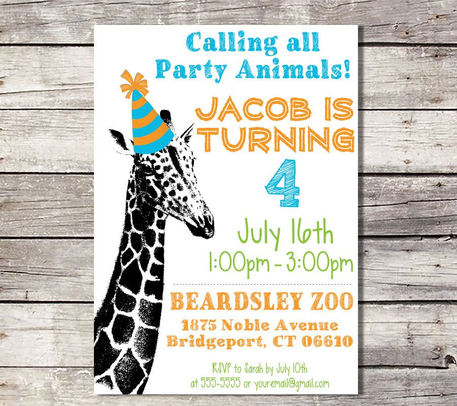 Zoo Birthday Invitation, Giraffe Invitation, Party Animal Invitation ...