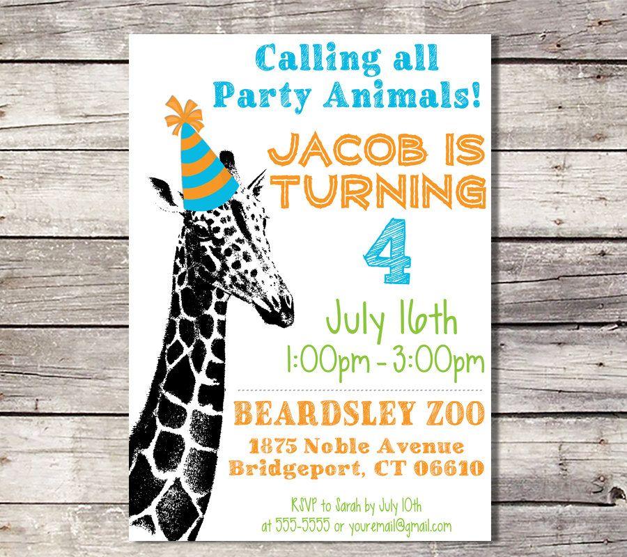 Zoo Birthday Invitation, Giraffe Invitation, Party Animal ...