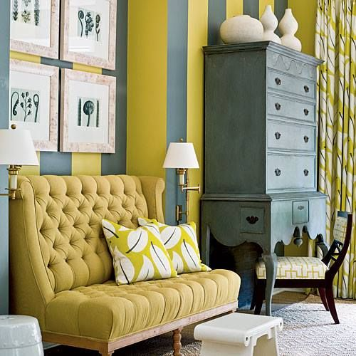 Love The Chartreuse and Slate Gray Cabana Stripe Walls. | GREAT ...