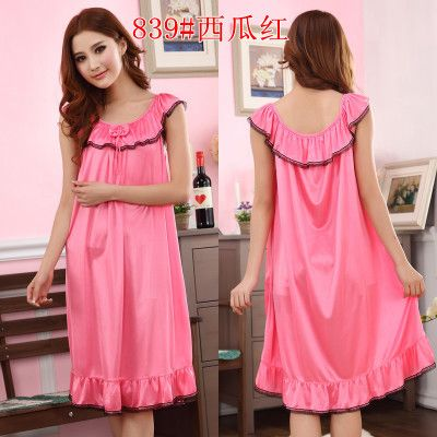 8130effb78f Plus Size 4XL Women s Summer Sexy Silk Night Dress Ladies Sleeveless  Nighties Female O-neck Nightgown Long Sleepwear Nightwear  Affiliate