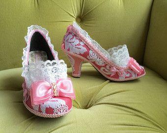 Licht Roze Pumps : Marie antoinette costume heels shoes rococo baroque fantasy pumps