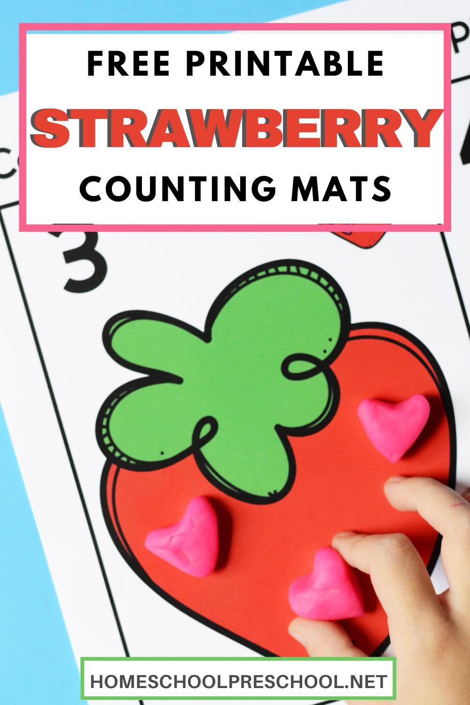 Free Printable Strawberry Playdough Mats for Preschool in
