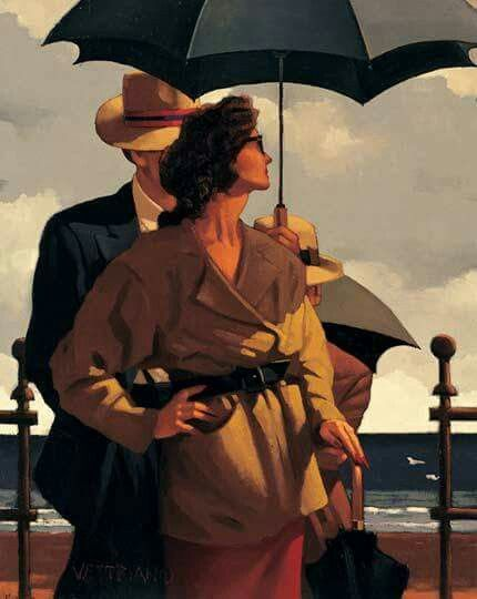 Jack Vettriano, Right Time, Right Place,  Oil on canvas 20 x 16 inches.