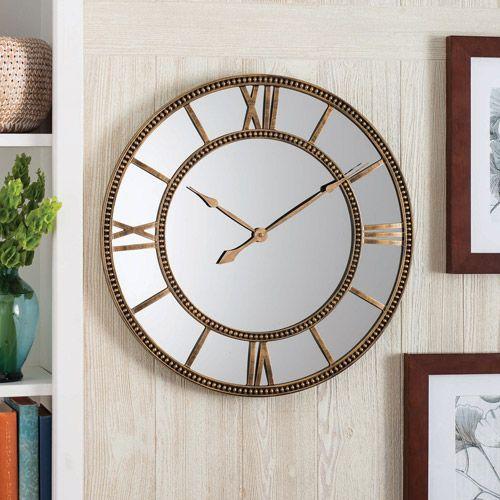 Better Homes And Gardens Mirror Clock Distressed Gold Decor Walmart