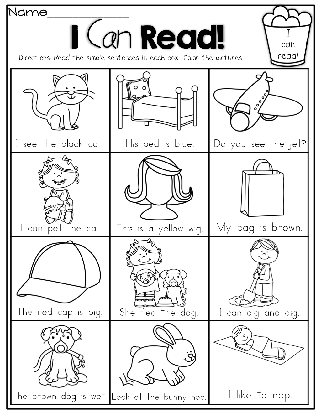 I Can READ Simple sentences with sight words CVC words and – Beginning Reading Worksheets