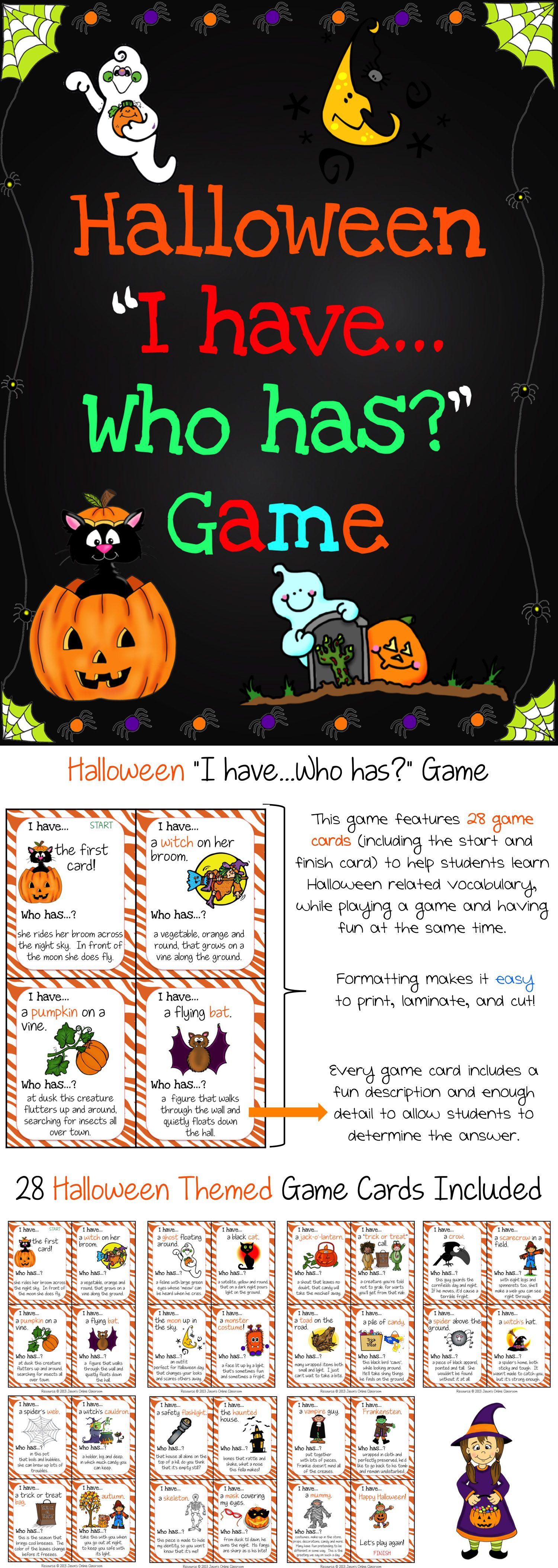Halloween Activities Speaking Listening I Have Who Has