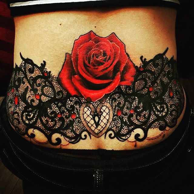 Rose And Lace Tattoo On Lower Back By Magdalena Marinkovic Remove Rose Lower Back Tattoos Lower Back Tattoo Designs Tramp Stamp Tattoos